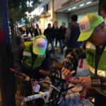 北野・曽根崎地区の夜警で迷惑駐輪撲滅の啓発